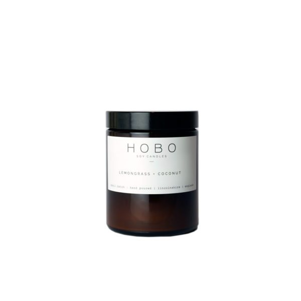 Lemongrass & Coconut Scented Candle by Hobo Soy Candles