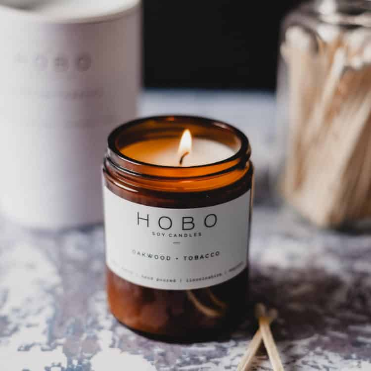 Oakwood & Tobacco Scented Candle by Hobo Soy Candles